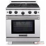 "American Range ARROB430 Performer range with 4 lift-off open gas burners,30"" convection oven with infrared gas broiler."
