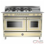 Bertazzoni HER486GGASCR Range, Gas Range, 48 inch, Convection, 6 Burners, Sealed Burners (Gas), Storage Drawer, 5.8 cubic ft, Free Standing, Matte Cream colour