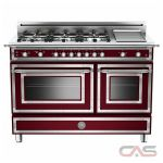 Bertazzoni Heritage Series HER486GGASVI Traditional-Style Gas Range 48 in with 6 Sealed Brass Burners, 3.6 cu. ft. Main Convection Oven, Manual Clean, Electric Griddle and Storage Compartment