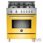 Bertazzoni PRO304DFSGI Range, Dual Fuel Range, 30 inch, Self Clean, Convection, 4 Burners, Sealed Burners (Gas), 3.4 cubic ft, Free Standing, Yellow colour