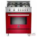 Bertazzoni PRO304DFSRO Range, Dual Fuel Range, 30 inch, Self Clean, Convection, 4 Burners, Sealed Burners (Gas), 3.4 cubic ft, Free Standing, Red colour