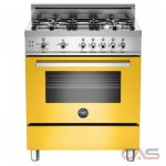 Bertazzoni PRO304GASGI Range, Gas Range, 30 inch, Convection, 4 Burners, Sealed Burners (Gas), Storage Drawer, 3.6 cubic ft, Free Standing, Yellow colour