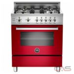 Bertazzoni PRO304GASRO Range, Gas Range, 30 inch, Convection, 4 Burners, Sealed Burners (Gas), Storage Drawer, 3.6 cubic ft, Free Standing, Red colour