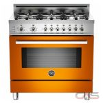 Bertazzoni PRO366DFSAR Range, Dual Fuel Range, 36 inch, Self Clean, Convection, 6 Burners, Sealed Burners (Gas), 4 cubic ft, Free Standing, Orange colour