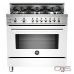 Bertazzoni PRO366DFSBI Range, Dual Fuel Range, 36 inch, Self Clean, Convection, 6 Burners, Sealed Burners (Gas), 4 cubic ft, Free Standing, White colour