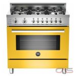 Bertazzoni PRO366DFSGI Range, Dual Fuel Range, 36 inch, Self Clean, Convection, 6 Burners, Sealed Burners (Gas), 4 cubic ft, Free Standing, Yellow colour