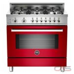 Bertazzoni PRO366DFSRO Range, Dual Fuel Range, 36 inch, Self Clean, Convection, 6 Burners, Sealed Burners (Gas), 4 cubic ft, Free Standing, Red colour