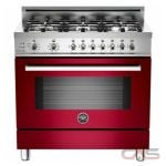 Bertazzoni PRO366DFSVI Range, Dual Fuel Range, 36 inch, Self Clean, Convection, 6 Burners, Sealed Burners (Gas), 4 cubic ft, Free Standing, Burgdundy colour