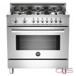 Bertazzoni PRO366DFSX Range, Dual Fuel Range, 36 inch, Self Clean, Convection, 6 Burners, Sealed Burners (Gas), 4 cubic ft, Free Standing, Stainless Steel colour