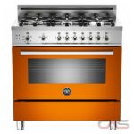 Bertazzoni Professional Series PRO366GASAR 36 in Pro-Style Gas Range with 6 Sealed Brass Burners, 4.4 cu. ft. Convection Oven, Manual Clean, Storage Compartment and Telescopic Glide Shelf