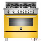 Bertazzoni PRO366GASGI Range, Gas Range, 36 inch, Convection, 6 Burners, Sealed Burners (Gas), Storage Drawer, 4.4 cubic ft, Free Standing, Yellow colour
