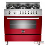 Bertazzoni PRO366GASRO Range, Gas Range, 36 inch, Convection, 6 Burners, Sealed Burners (Gas), Storage Drawer, 4.4 cubic ft, Free Standing, Red colour