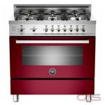 Bertazzoni PRO366GASVI Range, Gas Range, 36 inch, Convection, 6 Burners, Sealed Burners (Gas), Storage Drawer, 4,4 cubic ft, Free Standing, Red colour