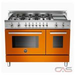 Bertazzoni PRO486GDFSAR Range, Dual Fuel Range, 48 inch, Self Clean, Convection, 6 Burners, Sealed Burners (Gas), 5.1 cubic ft, Free Standing, Orange colour