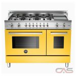 Bertazzoni PRO486GDFSGI Range, Dual Fuel Range, 48 inch, Self Clean, Convection, 6 Burners, Sealed Burners (Gas), 5.1 cubic ft, Free Standing, Yellow colour
