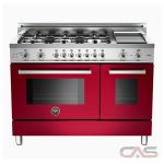 Bertazzoni PRO486GDFSVI Range, Dual Fuel Range, 48 inch, Self Clean, Convection, 6 Burners, Sealed Burners (Gas), 5.1 cubic ft, Free Standing, Burgdundy colour