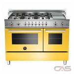 Bertazzoni PRO486GGASGI Range, Gas Range, 48 inch, Convection, 6 Burners, Sealed Burners (Gas), Storage Drawer, 5.8 cubic ft, Free Standing, Yellow colour