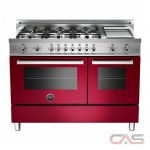 Bertazzoni PRO486GGASVI Range, Gas Range, 48 inch, Convection, 6 Burners, Sealed Burners (Gas), Storage Drawer, 5.8 cubic ft, Free Standing, Wine colour