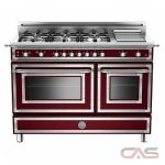 Bertazzoni HER486GGASVI01 Range, Gas Range, 48 Exterior Width, Convection, 6 Burners, Sealed Burners (Gas), 5.8 cu. ft. Capacity, 2 Ovens, Free Standing, 18K BTU