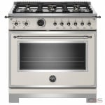 Bertazzoni HERT366DFSAVT Range, Electric Range, 36 Exterior Width, Self Clean, Convection, 6 Burners, Sealed Burners (Gas), 5.7 cu. ft. Capacity, 1 Ovens, Free Standing, 19K BTU, Avorio colour