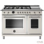 Bertazzoni HERT486GDFSAVT Range, Electric Range, 48 Exterior Width, Self Clean, Convection, 6 Burners, Sealed Burners (Gas), 7.0 Capacity, 2 Ovens, Free Standing, 19K, Avorio colour