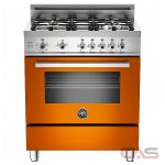 Bertazzoni PRO304GASARFR Range, Gas Range, 30 inch, Convection, 4 Burners, Sealed Burners (Gas), Storage Drawer, 3.6 cubic ft, Free Standing, Orange colour