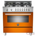 Bertazzoni PRO366GASAR01 Range, Gas Range, 36 inch, Convection, 6 Burners, Sealed Burners (Gas), Storage Drawer, 4.4 cubic ft, Free Standing, Orange colour