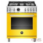Bertazzoni PROF304DFSGIT Range, Dual Fuel Range, 30 Exterior Width, Self Clean, Convection, 4 Burners, Sealed Burners (Gas), 4.6 Capacity, 1 Ovens, Free Standing, 19K, Giallo Yellow colour