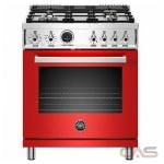 Bertazzoni PROF304DFSROT Range, Dual Fuel Range, 30 Exterior Width, Self Clean, Convection, 4 Burners, Sealed Burners (Gas), 4.6 cu. ft. Capacity, 1 Ovens, Free Standing, 19K BTU, Rosso Red colour