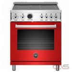 Bertazzoni PROF304INSROT Range, Electric Range, 30 Exterior Width, Self Clean, Convection, 4 Burners, Induction Elements, 4.7 cu. ft. Capacity, 1 Ovens, Free Standing, 3700W, Rosso Red colour