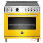 Bertazzoni PROF365INSGIT Range, Electric Range, 36 Exterior Width, Self Clean, Convection, 5 Burners, Induction Elements, 5.7 Capacity, 1 Ovens, Free Standing, 3700W, Giallo Yellow colour