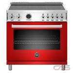 Bertazzoni PROF365INSROT Range, Electric Range, 36 Exterior Width, Self Clean, Convection, 5 Burners, Induction Elements, 5.7 cu. ft. Capacity, 1 Ovens, Free Standing, 3700W, Rosso Red colour