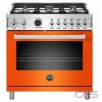 Bertazzoni PROF366DFSART Range, Dual Fuel Range, 36 Exterior Width, Self Clean, Convection, 5 Burners, Sealed Burners (Gas), 5.7 Capacity, 1 Ovens, Free Standing, 19K, Arancio Orange colour