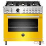 Bertazzoni PROF366DFSGIT Range, Dual Fuel Range, 36 Exterior Width, Self Clean, Convection, 5 Burners, Sealed Burners (Gas), 5.7 Capacity, 1 Ovens, Free Standing, 19K, Giallo Yellow colour