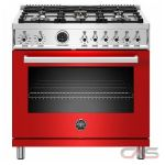 Bertazzoni PROF366DFSROT Range, Dual Fuel Range, 36 Exterior Width, Self Clean, Convection, 5 Burners, Sealed Burners (Gas), 5.7 cu. ft. Capacity, 1 Ovens, Free Standing, 19K BTU, Rosso Red colour