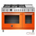 Bertazzoni PROF486GDFSART Range, Dual Fuel Range, 48 Exterior Width, Self Clean, Convection, 6 Burners, Sealed Burners (Gas), 7.0 Capacity, 2 Ovens, Free Standing, 19K, Arancio Orange colour
