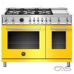 Bertazzoni PROF486GDFSGIT Range, Dual Fuel Range, 48 Exterior Width, Self Clean, Convection, 6 Burners, Sealed Burners (Gas), 7.0 Capacity, 2 Ovens, Free Standing, 19K, Giallo Yellow colour