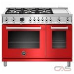 Bertazzoni PROF486GDFSROT Range, Dual Fuel Range, 48 Exterior Width, Self Clean, Convection, 6 Burners, Sealed Burners (Gas), 7.0 cu. ft. Capacity, 2 Ovens, Free Standing, 19K BTU, Rosso Red colour