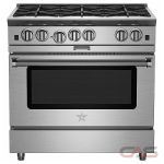 Blue Star BSP366B Range, Gas Range, 36'' Exterior Width, Convection, 6 Burners, Open Burners (Gas), 4.6 cubic ft, 1 Ovens, Free Standing, 25K