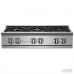 BlueStar RGTNB366BV2 Rangetop, Gas Cooktop, 36 inch, 6 Burners, 22K BTU, Stainless Steel colour