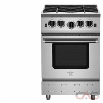 BlueStar RNB244BV2, Gas Range, 24 Exterior Width, Convection, 4 Burners, Open Burners (Gas), 5.0 Capacity, 1 Ovens, Free Standing, 22K, Stainless Steel colour