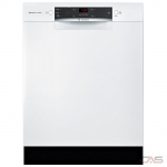 Bosch 300 Series SGE53X52UC Built-In Undercounter Dishwasher, 24 Exterior Width, 4 Wash Cycles, Stainless Steel (Interior), 2 Loading Racks, Full Console, 14 Capacity (Place Settings), 46 dB Decibel Level, White colour