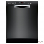 Bosch 300 Series SGE53X56UC Built-In Undercounter Dishwasher, 24 Exterior Width, 4 Wash Cycles, Stainless Steel (Interior), 2 Loading Racks, Full Console, 13 Capacity (Place Settings), 46 dB Decibel Level, Black colour