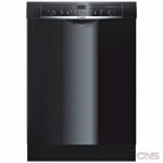 Bosch Ascenta Series SHE3AR76UC Built-In Undercounter Dishwasher, 24 Exterior Width, 6 Wash Cycles, Stainless Steel (Interior), 2 Loading Racks, Full Console, 14 Capacity (Place Settings), 50 dB Decibel Level, Black colour