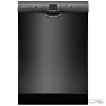 Bosch 100 Series SHEM3AY56N Built-In Undercounter Dishwasher, 24 Exterior Width, 6 Wash Cycles, 2 Loading Racks, Full Console, 14 Capacity (Place Settings), 50 dB Decibel Level, Black colour