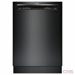 Bosch 300 Series SHEM63W56N Built-In Undercounter Dishwasher, 24 Exterior Width, 6 Wash Cycles, Stainless Steel (Interior), 3 Loading Racks, Full Console, 16 Capacity (Place Settings), 44 dB Decibel Level, Black colour