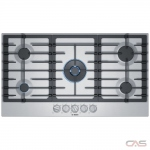 Bosch 800 Series NGM8657UC Cooktop, Gas Cooktop, 36 inch, 5 Burners, 17K BTU, Stainless Steel colour