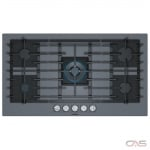 Bosch Benchmark Series NGMP677UC Cooktop, Gas Cooktop, 36 inch, 5 Burners, 14.3K BTU, Dark Silver colour