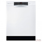 Bosch 300 Series SHEM53Z22C Built-In Undercounter Dishwasher, 24 Exterior Width, 4 Wash Cycles, Stainless Steel (Interior), 2 Loading Racks, Full Console, 14 Capacity (Place Settings), 46 dB Decibel Level, White colour