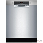 Bosch 300 Series SHEM53Z25C Built-In Undercounter Dishwasher, 24 Exterior Width, 4 Wash Cycles, Stainless Steel (Interior), 2 Loading Racks, Full Console, 14 Capacity (Place Settings), 46 dB Decibel Level, Stainless Steel colour
